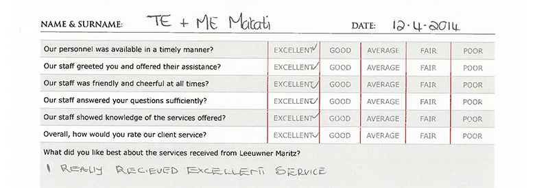 leeuwmer maritz attorneys - compliments and refernces